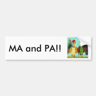 MA and PA! American Gothic Roosters Bumper Sticker