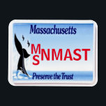"MA License Plate Magnet<br><div class=""desc"">Squat Massachusetts State License Plate Magnet. Add your own name or initials,  move the state image or remove altogether! Classic Blue-White fade and Whale tail. Collect all 50 !</div>"