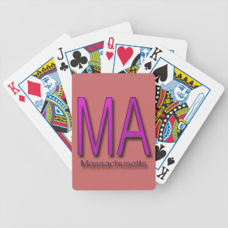MA Massachusetts magenta Bicycle Playing Cards
