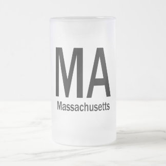MA Massachusetts plain black Frosted Glass Beer Mug