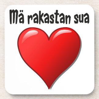 Mä rakastan sua - I love you in Finnish Coaster