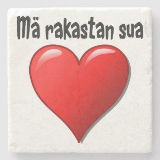 Mä rakastan sua - I love you in Finnish Stone Coaster