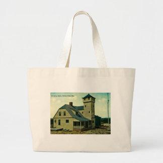 MA Salisbury Beach Life Saving Station Postcard Tote Bags
