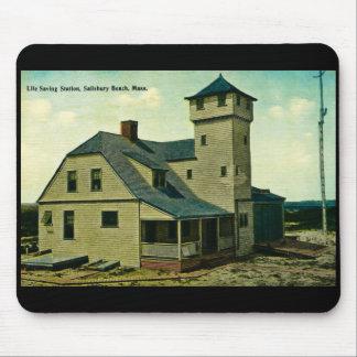 MA Salisbury Beach Life Saving Station Postcard Mouse Pad