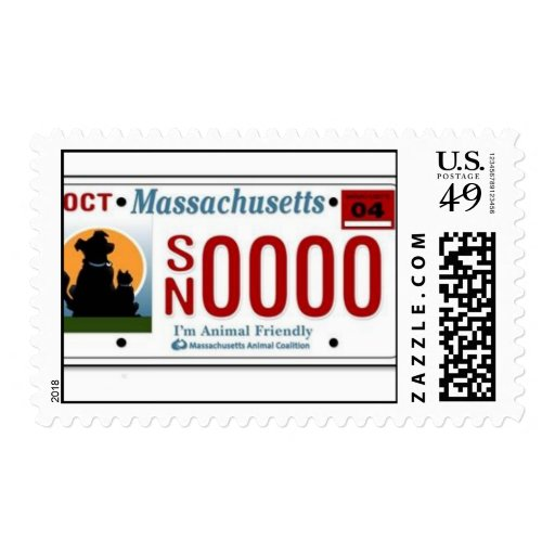 MA Spay Neuter License Plate Postage Stamps