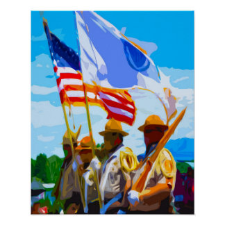 MA State Flag Guard Posters