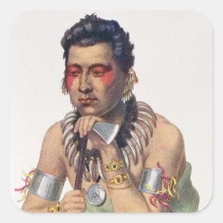 MA-Tener-Ka joven, jefe del Iowas Pegatina Cuadrada