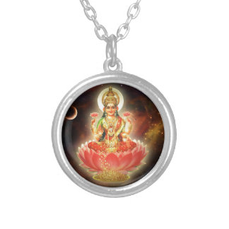 Maa Maha Lakshmi Devi Laxmi Goddess of Wealth Silver Plated Necklace