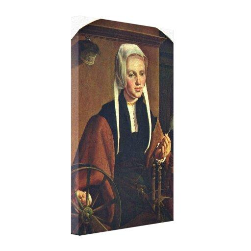 Maarten van Heemskerck - retrato de una mujer Lona Estirada Galerías