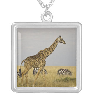 Maasai Giraffes roaming across the Maasai Mara 3 Square Pendant Necklace