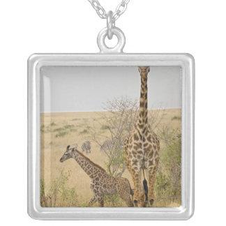 Maasai Giraffes roaming across the Maasai Mara Square Pendant Necklace
