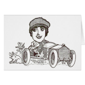 Mabel Normand racer silent movie star caricature Card