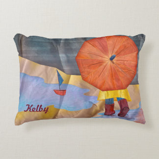 Mabell's Days, Splashing In a Puddle Decorative Pillow