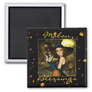 Mabon Blessings Witch digital Art Square Magnet