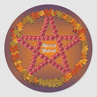 Mabon Pentacle Round Stickers