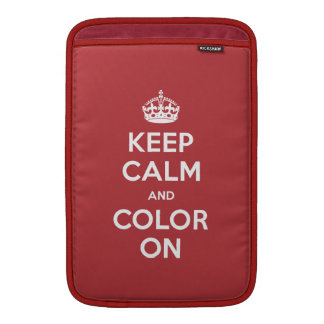 Mac Air Sleeve - Keep Calm and Color On - RED