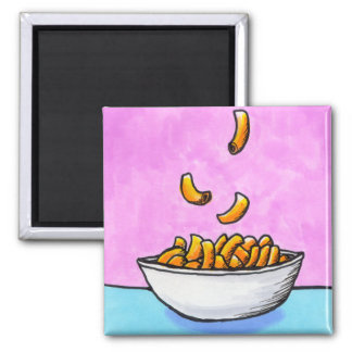 Mac and cheese fun colorful original tiny art 2 inch square magnet