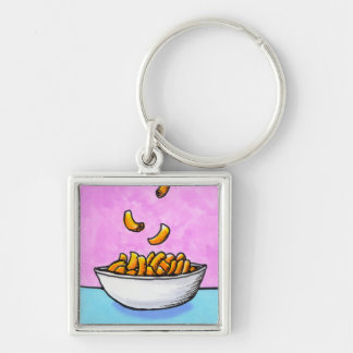 Mac and cheese fun colorful original tiny art Silver-Colored square keychain
