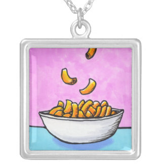 Mac and cheese fun colorful original tiny art square pendant necklace