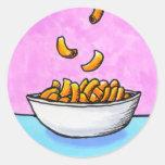 Mac and cheese fun colorful original tiny art classic round sticker