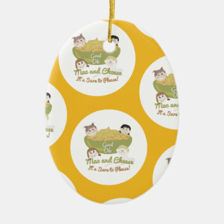 Mac and Cheese Please Pattern Ceramic Ornament