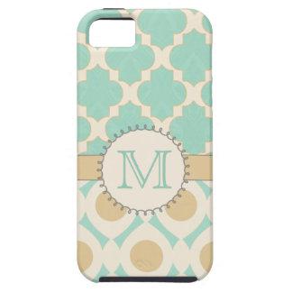 Mac de Mally del caso de Quatrefoil MonogramiPhone iPhone 5 Case-Mate Protector