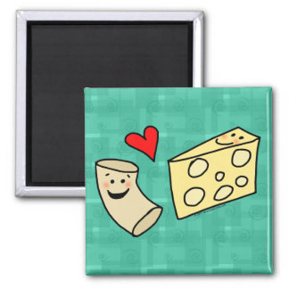 Mac Loves Cheese, Funny Cute Macaroni + Cheese 2 Inch Square Magnet