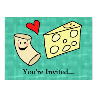 Mac Loves Cheese, Funny Cute Macaroni + Cheese 5x7 Paper Invitation Card