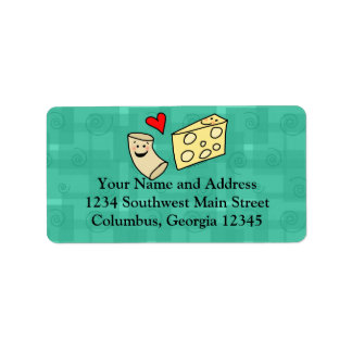 Mac Loves Cheese, Funny Cute Macaroni + Cheese Address Label