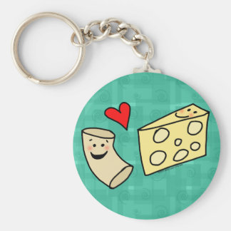 Mac Loves Cheese, Funny Cute Macaroni + Cheese Basic Round Button Keychain