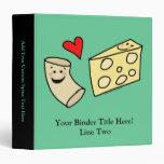 Mac Loves Cheese, Funny Cute Macaroni + Cheese 3 Ring Binder