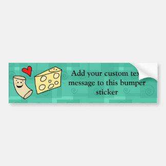Mac Loves Cheese, Funny Cute Macaroni + Cheese Car Bumper Sticker