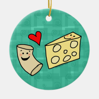 Mac Loves Cheese, Funny Cute Macaroni + Cheese Double-Sided Ceramic Round Christmas Ornament