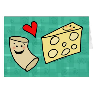 Mac Loves Cheese, Funny Cute Macaroni + Cheese Greeting Card