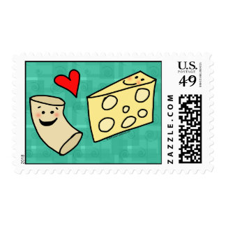 Mac Loves Cheese, Funny Cute Macaroni + Cheese Stamp