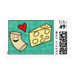 Mac Loves Cheese, Funny Cute Macaroni + Cheese Postage Stamp