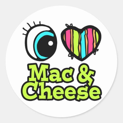 Mac y queso brillantes del amor del corazón I del Pegatina Redonda
