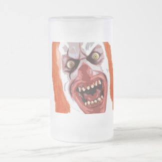 Macabre Clown Frosted Glass Beer Mug