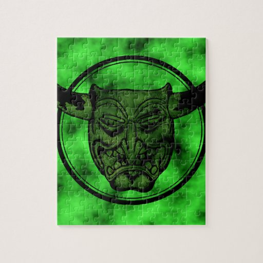 Macabre: Grinning Green Demon Jigsaw Puzzle