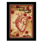 Macabre Literary Telltale Heart with Quote Postcard