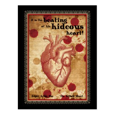 Halloween Themed Macabre Literary Telltale Heart with Quote Postcard