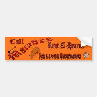 macabre rent a hearse car bumper sticker