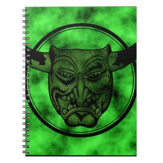 Macabro Mueca del demonio verde Libro De Apuntes Con Espiral