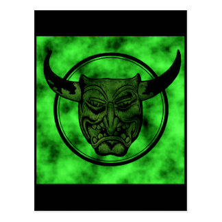 Macabro: Mueca del demonio verde Postales