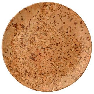 Macadamia Cork Burl Look Porcelain Plates