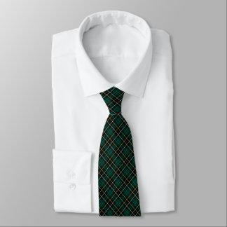 MacAlpine Clan Tartan Forest Green and Black Plaid Tie