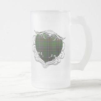MacAlpine Tartan Heart Frosted Glass Beer Mug