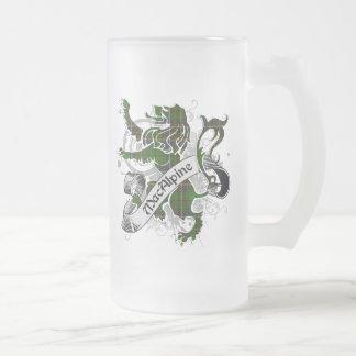 MacAlpine Tartan Lion Frosted Glass Beer Mug