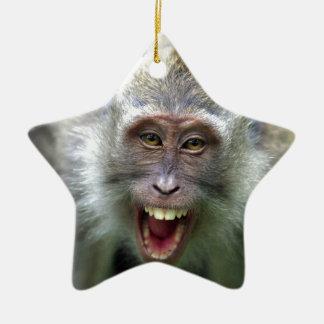 Macaque monkey ceramic ornament