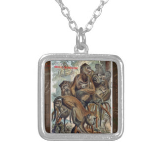 Macaque Responsible Travel Art Silver Plated Necklace